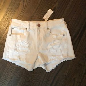 American Eagle white ripped Jean shorts
